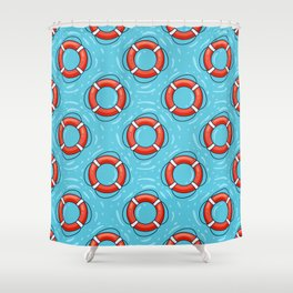 Lifebuoy on blue water pattern Shower Curtain