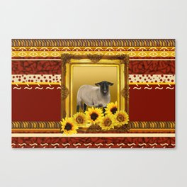 Frame Design yellow Sheep Canvas Print