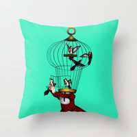 cage Throw Pillows featuring the cage by cappellosenzatesta