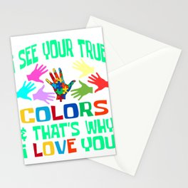 """Autism Awareness Tee """"I See Your True Colors & That's Why I Love You"""" T-shirt Design Hands Puzzle Stationery Cards"""