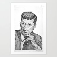 jfk Art Prints featuring JFK by Monifa Charles
