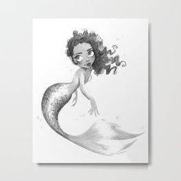 Ink Mermaid Metal Print