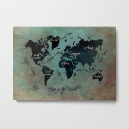 World Map text Metal Print