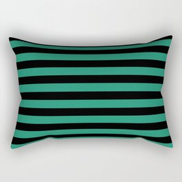 Elf Green and Black Stripes | Horizontal Medium Stripes | Rectangular Pillow