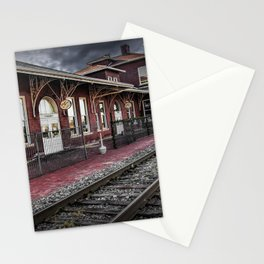 Old Train Station with Crossing Sign in Gutherie Oklahoma No.0840 A Fine Art Railroad Landscape Phot Stationery Cards