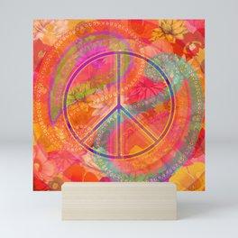 Hippie Chic Paisley Flowers Peace Mini Art Print