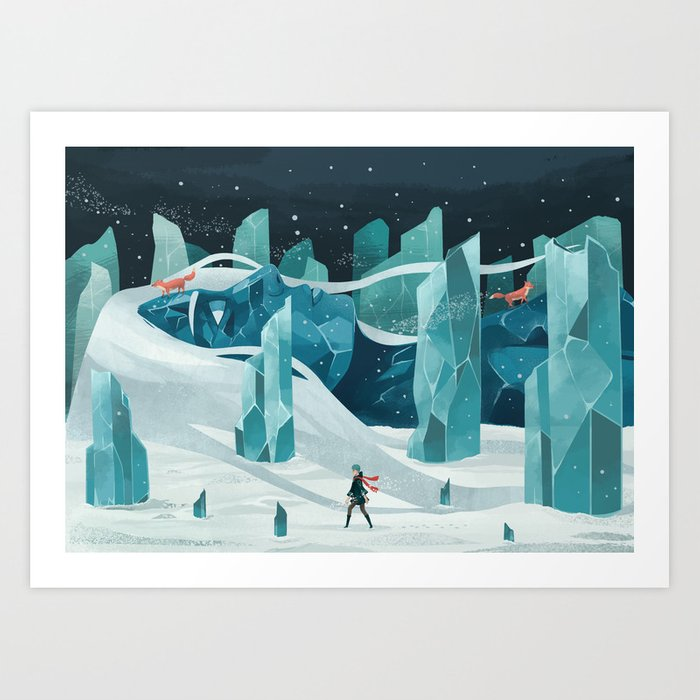 The wanderer and the ice forest Art Print