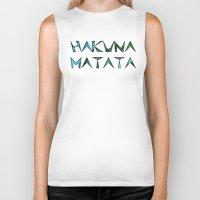 hakuna Biker Tanks featuring hakuna matata by Kat's Karma Cache