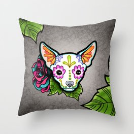 Chihuahua in White - Day of the Dead Sugar Skull Dog Throw Pillow