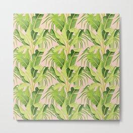 banana tree pink pattern Metal Print