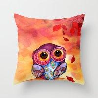 Throw Pillows featuring Owl's First Fall Leaf by Annya Kai