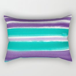 Teal and Purple Watercolor Stripes Rectangular Pillow