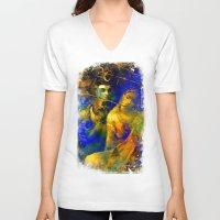 hindu V-neck T-shirts featuring Shiva The Auspicious One - The Hindu God by sarvesh