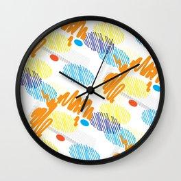 Contemporary interior design shapes unique pattern orange, blue decoration style Wall Clock