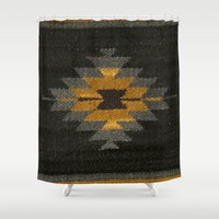 kilim Shower Curtains featuring wool kilim by Storm + Stress