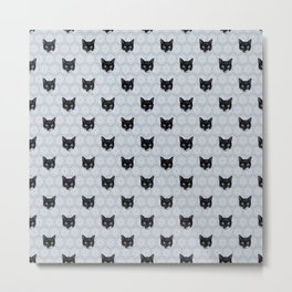 Tuxedo Cat Faces with Gray Floral Ornament Pattern Metal Print