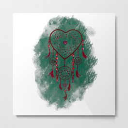 Heart Dreamcatcher: Green background Metal Print