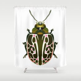 Green, White, Pink Beetle Shower Curtain