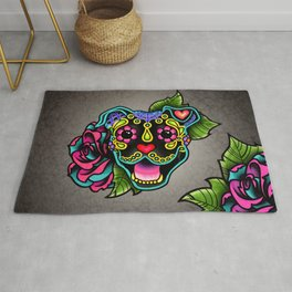 Smiling Pit Bull in Black - Day of the Dead Pitbull Sugar Skull Rug