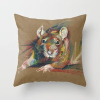 rat Throw Pillows featuring Rat by Anaïs Chesnoy