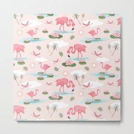Flamingos and waterlilies Metal Print