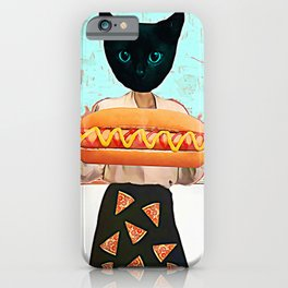 Let there be hot dogs and pizza rain iPhone Case