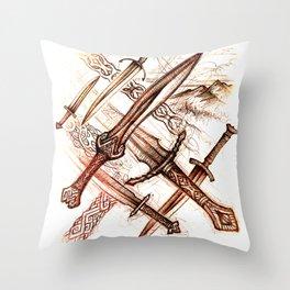 Mythopoetic Blades Throw Pillow