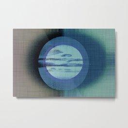 Midsummer Moon - Mid Century Modern Grey Blue Watercolor Metal Print