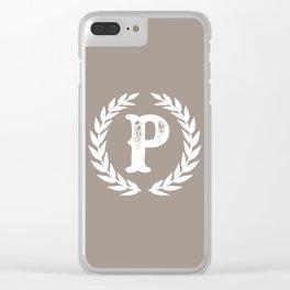 Beige Monogram: Letter P Clear iPhone Case