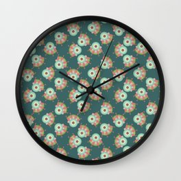 Turquoise floral pattern Wall Clock