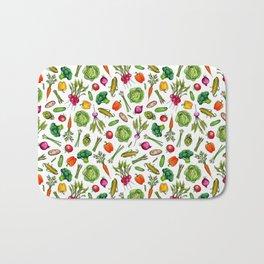 Vegetable Garden - Summer Pattern With Colorful Veggies Bath Mat