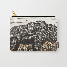 Buffalo's Roam, American Bison Wildlife Black White Gold Linocut Print with Collage Carry-All Pouch