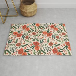 Christmas Floral Pattern Rug