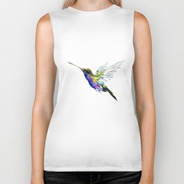 Flying Hummingbird, Blue green wall art minimalist bird Biker Tank