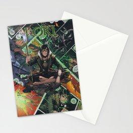 Loki God of Mischief Comic Art Collage Stationery Cards