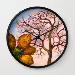 Branch of an Almond tree in Winter Wall Clock