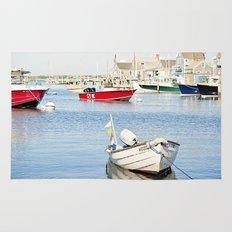 Boats Reflecting in Harbor in Nantucket Rug