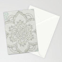 Boho Glam Mandala Silver Aqua Stationery Cards
