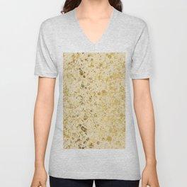 Almond Oil and Gold Patina Design Unisex V-Neck