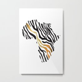 Africa Map Afrocentric Zebra Animal Print Black and Gold Tribal Minimalist Metal Print