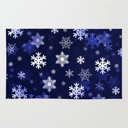 Dark Blue Snowflakes Rug