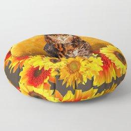 NIGHT OWL MOON SUNFLOWER ART Floor Pillow
