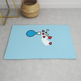 Blue and Red Laboratory Flask Rug