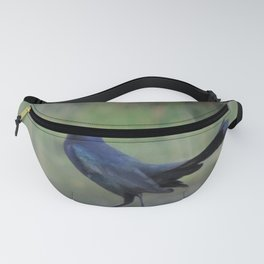 Black bird at the pond Fanny Pack