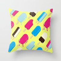 popsicle Throw Pillows featuring Popsicle by Sher Mavro ART