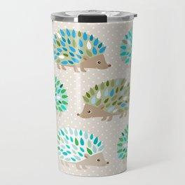 Hedgehog polkadot in green and blue Travel Mug