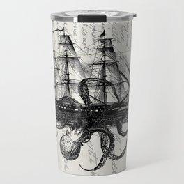 Octopus Kraken Attacking Ship on Old Postcards Travel Mug