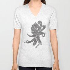 Octopus Bloom black and white Unisex V-Neck