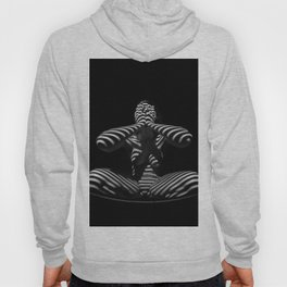 1195-MAC Abstract Nude Black & White Zebra Striped Woman Topographic Feminine Body Hoody