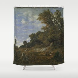 Theodore Rousseau - The Edge of the Woods at Monts-Girard, Fontainebleau Forest Shower Curtain